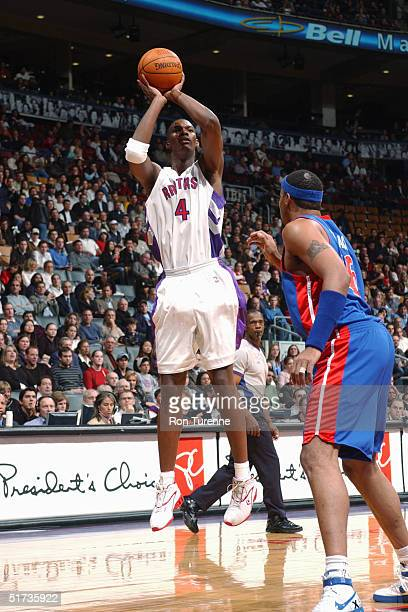 Chris Bosh of the Toronto Raptors shoots the ball during the game against the Detroit Pistons on November 5 2004 at the Air Canada Centre in Toronto...