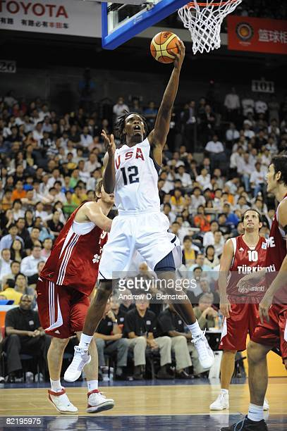Chris Bosh of the US Men's Senior National Team shoots a layup during a PreSeason Friendly against Turkey on July 31 2008 at the Cotai Arena in Macao...