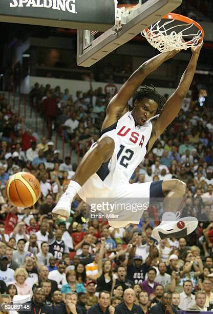Chris Bosh of the USA Basketball Men's Senior National Team dunks during the 2008 State Farm Basketball Challenge exhibition game against the...