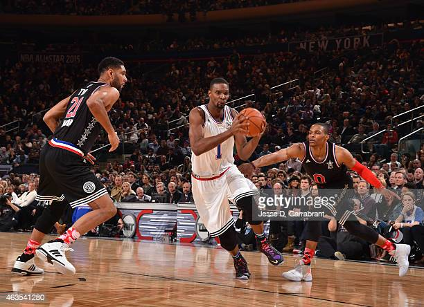 Chris Bosh playing for the East Coast allstars drives to the basket during the 2015 NBA AllStar Game at Madison Square Garden on February 15 2015 in...