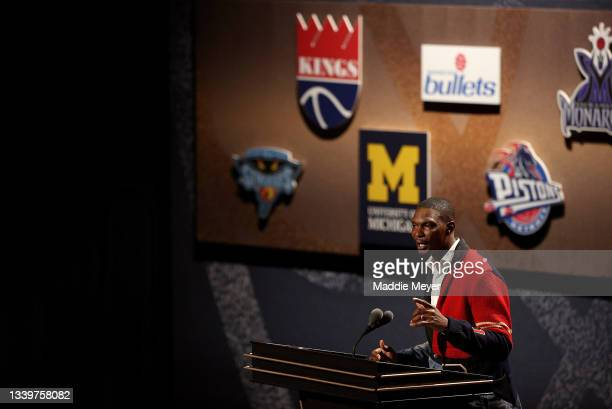 Chris Bosh speaks during the 2021Naismith Memorial Basketball Hall of Fame ceremony at Symphony Hall on September 11, 2021 in Springfield,...