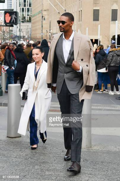 Chris Boshs and Adrienne Bosh attends Roc Nation THE BRUNCH on January 27 2018 in New York City