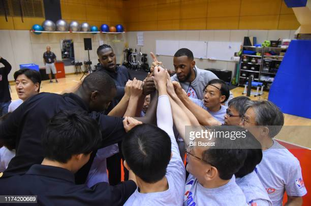 Chris Boucher and Dewan Hernandez of the Toronto Raptors during the NBA Cares Special Olympics Unified Clinic part of the 2019 NBA Japan Games at a...