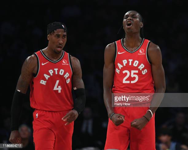 Chris Boucher and Rondae HollisJefferson of the Toronto Raptors celebrate during a 113104 win over the Los Angeles Lakers at Staples Center on...