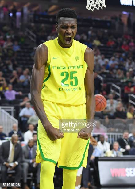 Chris Boucher of the Oregon Ducks reacts after dunking against the California Golden Bears during a semifinal game of the Pac12 Basketball Tournament...