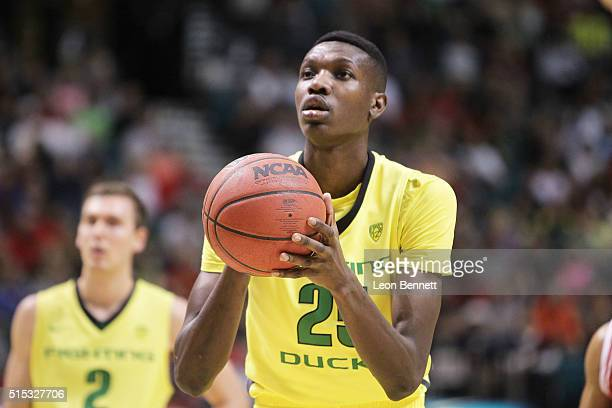 Chris Boucher of the Oregon Ducks shooting free throws against the Utah Utes during the championship game of the Pac12 Basketball Tournament at MGM...