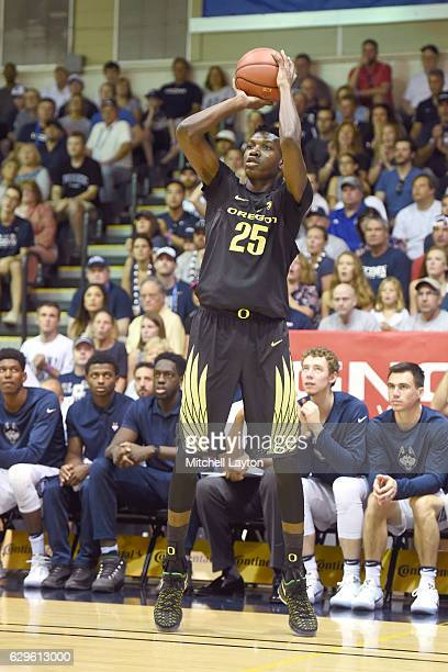 Chris Boucher of the Oregon Ducks takes a jump shot during the Maui Invitation college basketball tournament game against the Connecticut Huskies at...