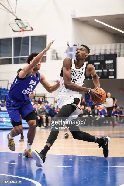 Chris Boucher of the Raptors 905 drives to the basket against the Delaware Blue Coats during an NBA GLeague game on March 16 2019 at Fieldhouse in...