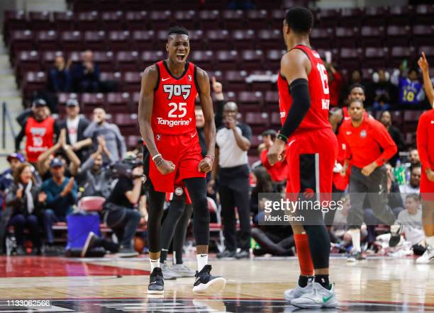 Chris Boucher of the Raptors 905 reacts to a play during the game against the Grand Rapids Drive during the First Round of the NBA G League Playoffs...