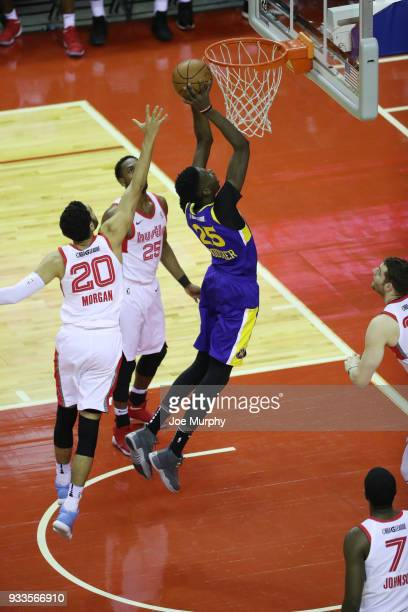 Chris Boucher of the Santa Cruz Warriors dunks the ball against Memphis Hustle during an NBA GLeague game on March 10 2018 at Landers Center in...