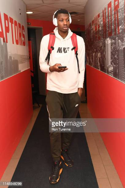 Chris Boucher of the Toronto Raptors arrives at the arena before the game against the Milwaukee Bucks in Game Four of the Eastern Conference Finals...