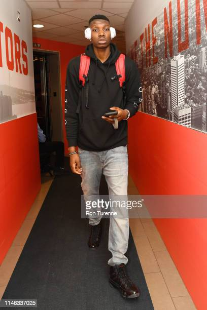 Chris Boucher of the Toronto Raptors arrives before the game against the Milwaukee Bucks during Game Six of the Eastern Conference Finals on May 25...