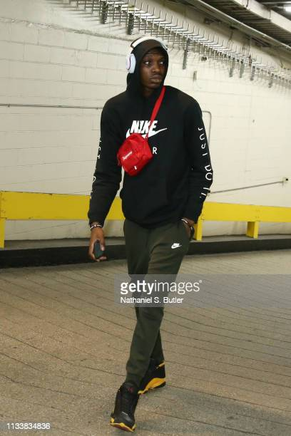 Chris Boucher of the Toronto Raptors arrives to the arena prior to the game against the New York Knicks on March 28 2019 at Madison Square Garden in...