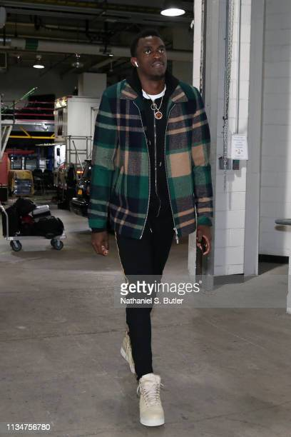 Chris Boucher of the Toronto Raptors arrives to the game against the Brooklyn Nets on April 3 2019 at Barclays Center in New York City New York NOTE...