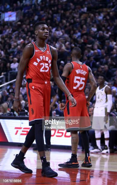 Chris Boucher of the Toronto Raptors comes into the game during the first half against the Indiana Pacers at Scotiabank Arena on December 19 2018 in...