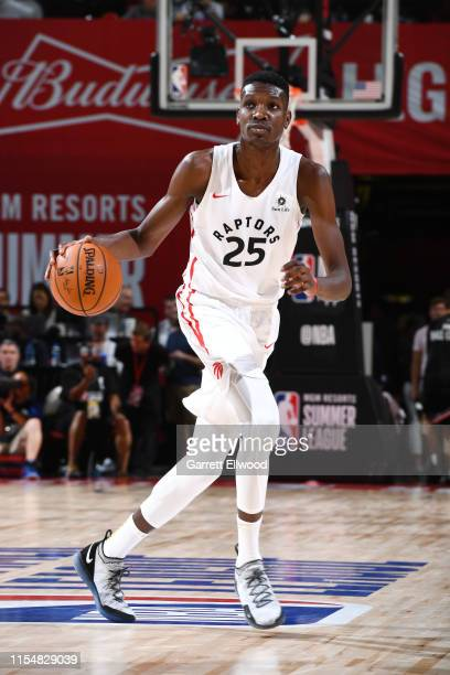 Chris Boucher of the Toronto Raptors dribbles the ball during the game against the New York Knicks during Day 5 of the 2019 Las Vegas Summer League...