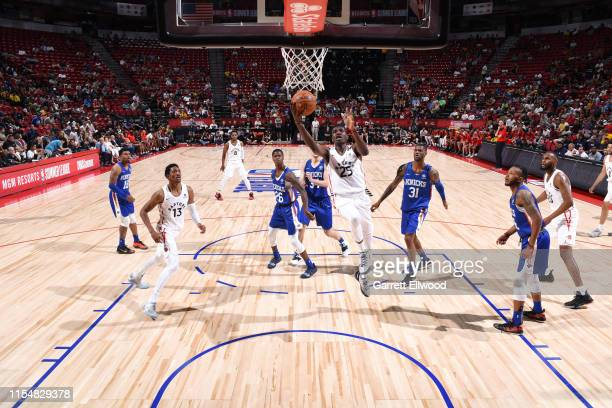 Chris Boucher of the Toronto Raptors drives to the basket during the game against the New York Knicks during Day 5 of the 2019 Las Vegas Summer...