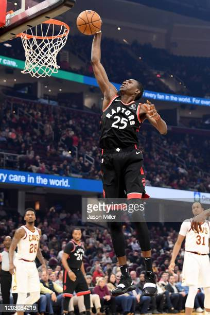 Chris Boucher of the Toronto Raptors dunks during the first half against the Cleveland Cavaliers at Rocket Mortgage Fieldhouse on January 30 2020 in...