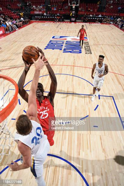 Chris Boucher of the Toronto Raptors dunks the ball against the Golden State Warriors during Day 2 of the 2019 Las Vegas Summer League on July 6 2019...