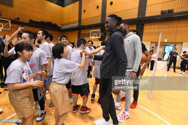 Chris Boucher of the Toronto Raptors during the NBA Cares Special Olympics Unified Clinic part of the 2019 NBA Japan Games at a training facility on...