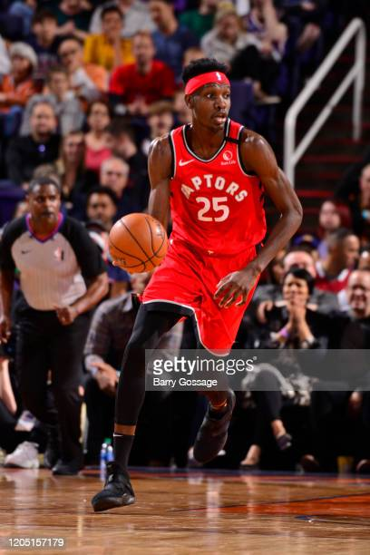 Chris Boucher of the Toronto Raptors handles the ball against the Phoenix Suns on March 3 2020 at Talking Stick Resort Arena in Phoenix Arizona NOTE...