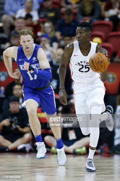 Chris Boucher of the Toronto Raptors in action against the New York Knicks during the 2019 Summer League at the Thomas Mack Center on July 09 2019 in...