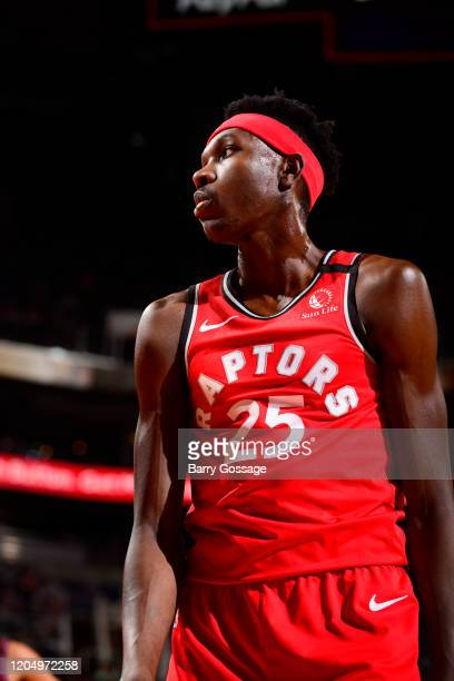 Chris Boucher of the Toronto Raptors looks on during the game against the Phoenix Suns on March 3 2020 at Talking Stick Resort Arena in Phoenix...
