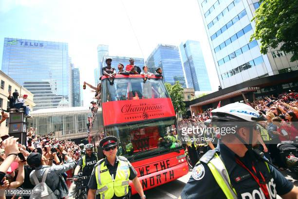 Chris Boucher of the Toronto Raptors on a bus during the Toronto Raptors Victory Parade on June 17 2019 in Toronto Canada The Toronto Raptors beat...