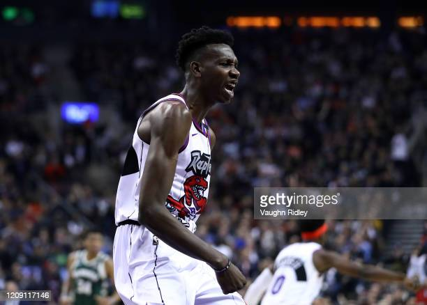 Chris Boucher of the Toronto Raptors reacts during the first half of an NBA game between the Milwaukee Bucks at Scotiabank Arena on February 25 2020...