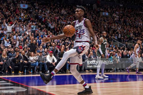 Chris Boucher of the Toronto Raptors reacts to play on February 25 2020 at the Scotiabank Arena in Toronto Ontario Canada NOTE TO USER User expressly...