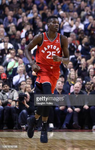 Chris Boucher of the Toronto Raptors runs up the court during the first half against the Indiana Pacers at Scotiabank Arena on December 19 2018 in...