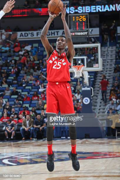 Chris Boucher of the Toronto Raptors shoots the ball against the New Orleans Pelicans during a preseason game on October 11 2018 at Smoothie King...