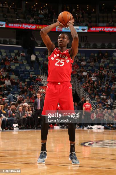 Chris Boucher of the Toronto Raptors shoots the ball against the New Orleans Pelicans on November 8 2019 at the Smoothie King Center in New Orleans...