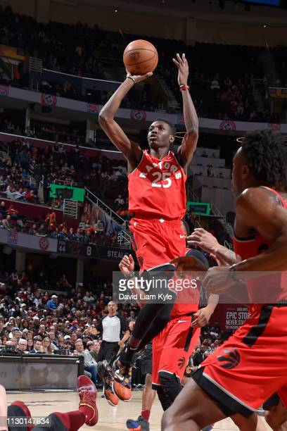 Chris Boucher of the Toronto Raptors shoots the ball against the Cleveland Cavaliers on March 11 2019 at Quicken Loans Arena in Cleveland Ohio NOTE...