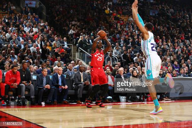 Chris Boucher of the Toronto Raptors shoots the ball against the Charlotte Hornets on November 18 2019 at the Scotiabank Arena in Toronto Ontario...