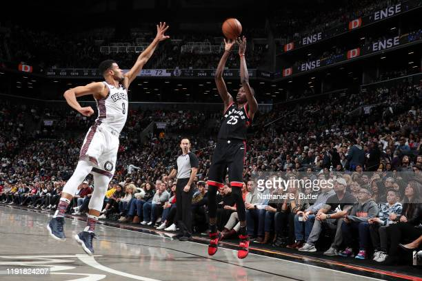 Chris Boucher of the Toronto Raptors shoots the ball against the Brooklyn Nets on January 4 2020 at Barclays Center in Brooklyn New York NOTE TO USER...