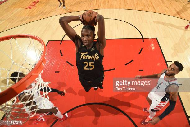 Chris Boucher of the Toronto Raptors shoots the ball against the Washington Wizards on January 17 2020 at the Scotiabank Arena in Toronto Ontario...