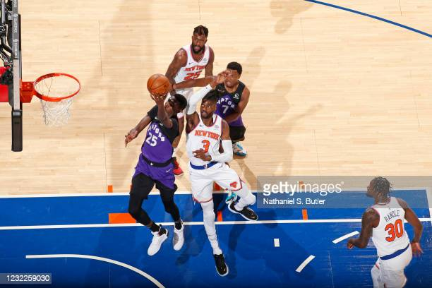 Chris Boucher of the Toronto Raptors shoots the ball during the game against the New York Knicks on April 11, 2021 at Madison Square Garden in New...