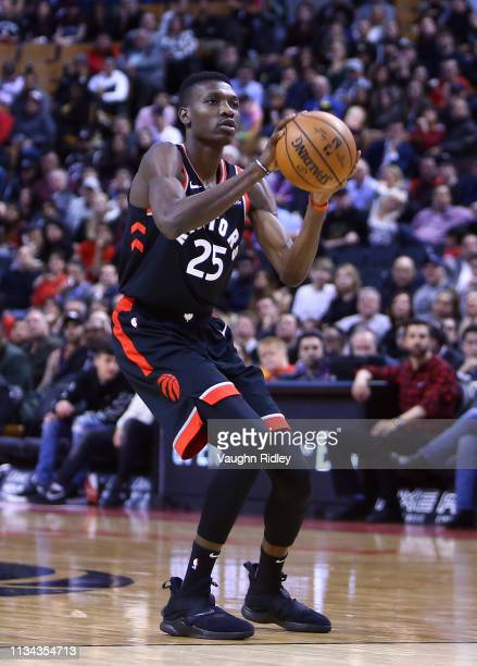 Chris Boucher of the Toronto Raptors shoots the ball during the second half of an NBA game against the Orlando Magic at Scotiabank Arena on April 1...