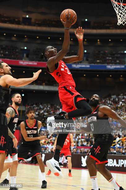 Chris Boucher of the Toronto Raptors shoots the ballagainst the Houston Rockets during the 2019 NBA Japan Games on October 8 2019 at Saitama Super...