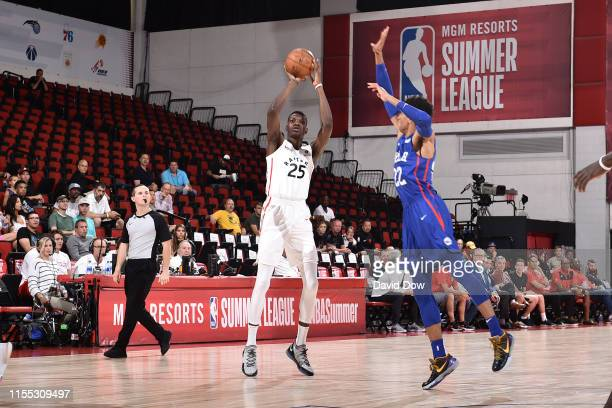 Chris Boucher of the Toronto Raptors shoots three point basket against the Philadelphia 76ers during Day 8 of the 2019 Las Vegas Summer League on...