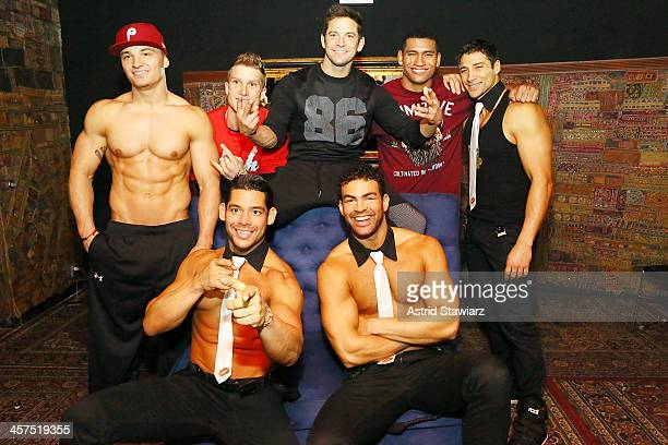 Chris Boudreaux, Kyle Efthemes, Jeff Timmons, Nate Estimada, Garo Bechirian, Keith Webb and Joel Sajiun of Men Of The Strip pose for photos at The...