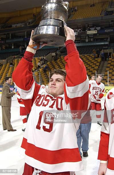 Chris Bourque of Boston University raises the Beanpot trophy at the 2005 Beanpot Tournament on February 14, 2005 in Boston, Massachusetts.