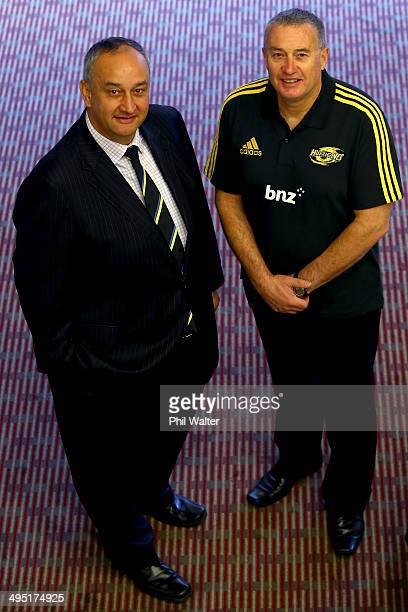 Chris Boyd and Hurricanes chief executive James Te Puni pose for a portrait after Chris Boyd was named as the Hurricanes Head Coach for 2015 at the...