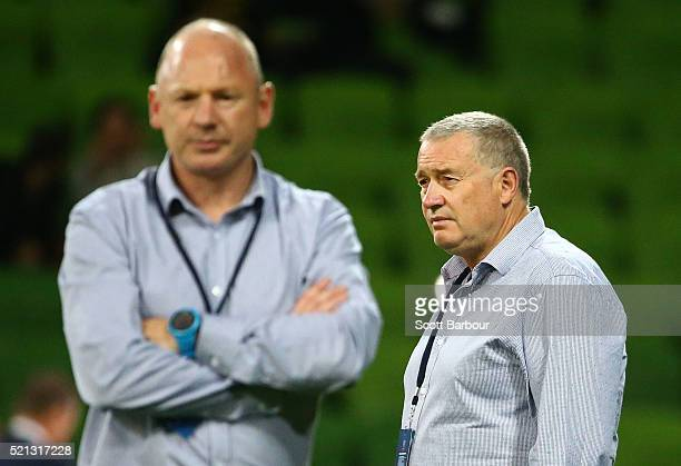 Chris Boyd coach of the Hurricanes and team manager Tony Ward of the Hurricanes look on during the round eight Super Rugby match between the Rebels...