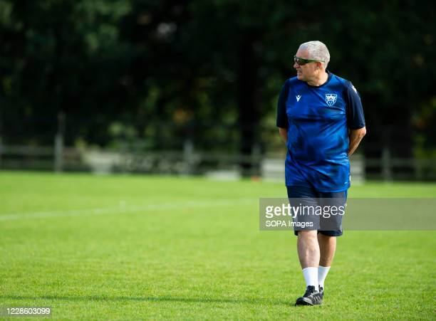 Chris Boyd director of Rugby at English Premiership team Northampton Saints looks on during Training Day at Franklin's Gardens Northampton