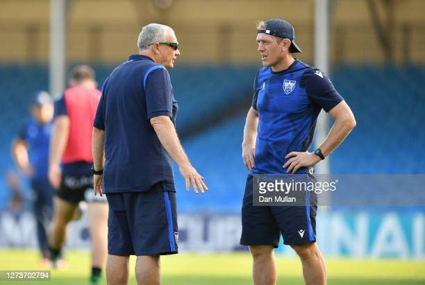 Chris Boyd Northampton Saints' Director of Rugby talks to Sam Vesty Attack Coach of Northampton Saints prior to the Heineken Champions Cup Quarter...