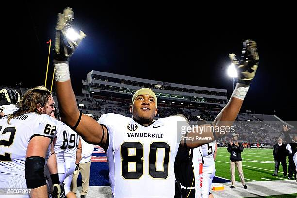 Chris Boyd of the Vanderbilt Commodores reacts to a victory over the Ole Miss Rebels following a game at VaughtHemingway Stadium on November 10 2012...