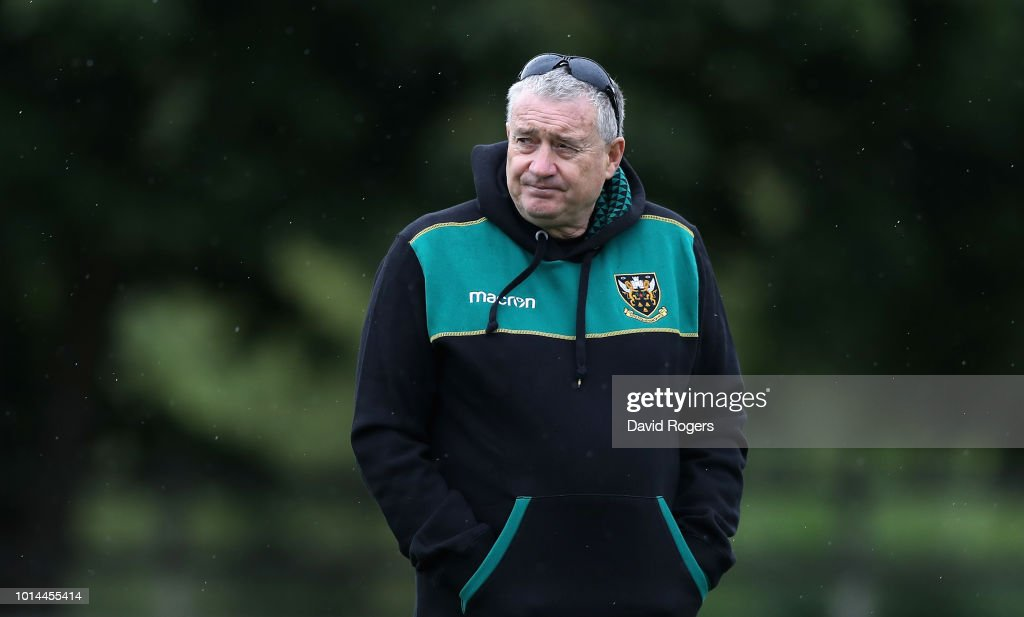 Chris Boyd, the Northampton Saints director of rugby, looks on during the Northampton Saints training session held at Franklin's Gardens on August 10, 2018 in Northampton, England.