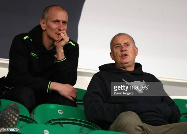 Chris Boyd who has been appointed the new director of rugby of Northampton Saints for next season looks on with interim head coach Alan Dickens...